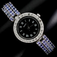 Sterling Silver 925 Genuine Natural Tanzanite Three Row Bracelet Watch 7 Inches
