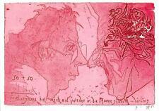 "vintage greeting   artistcard Horst Jansen  , the poeple ""2883"""