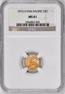 1915-S $1 Gold Pan Pacific Commemorative  : NGC MS61