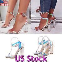Womens Ladies High Heels Sandals Transparent Block Heel Party Club Shoes Size