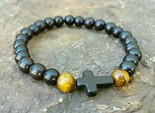 MENS BRACELET BLACK CROSS PRAYER BROWN CATEYE BEAD STRETCH JEWELRY WRIST GIFT