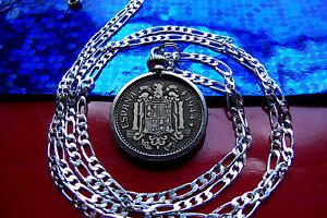 "1944 Spanish Golden Brass Un Peseta Pendant on 26"" Italian Sterling Silver Chain"