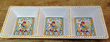 Yellow Rooster Divided 3 Part Serving Dish Le Cadeaux Melamine High Quality Tray