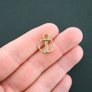 12 Anchor Charms Antique Gold Tone 2 Sided- GC472