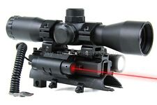 SKS 4x32 Mil Dot Compact Scope with Tri-rail Mount, LED Flash Light & Red Laser