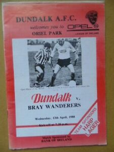 DUNDALK v  BRAY WANDERERS LEAGUE OF IRELAND 1987/88