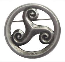 More details for triskele triskelion celtic pewter brooch pin badge