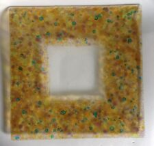 Lovely Fused Glass Square Platter Yellow Blue Wide Pebbled Border Signed H Roman