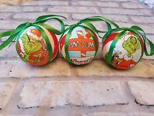 Conjunto de 3, 7cm Grinch Hecho a Mano Navidad Baubles
