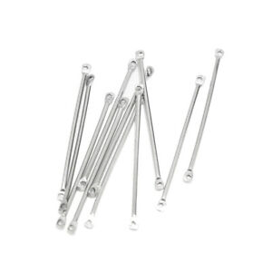 50pcs Silver Stainless Steel Stick Connectors 40mm Accessory for DIY Jewelry