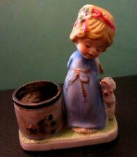 "Vtg Angel Lamb Votive Candle Holder Unglazed Porcelain 4.75"" X 4."" X 2"" Guc"