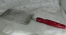 Vtg Tomato Slicer Manual Handheld Serrated Blades Cheese Egg, RED Handle