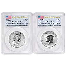 2019-S 50c Apollo 11 50th Ann. Half Dollar 2pc. Set PCGS PR70 FDOI Flag Label
