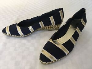 Bally Ladies Shoes Wedge Heel Navy and Gold Stripe Size 6.5 EU 39.5 in VGC