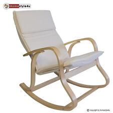 Schaukelstuhl Schwingsessel Natur Sessel Relaxstuhl Stuhl Polster Auflage Holz