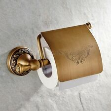 Retro Wall Mounted Antique Brass Toilet Paper Roll Tissue Holder Bathroom Shelf