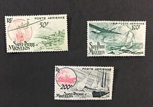 St. Pierre & Miquelon 1947 XF MNH Sc#C15-17 Air Post CV$40 (W12)