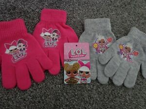 2 x pairs of lol gloves one grey one pink NEW with tags great gift idea L@@K