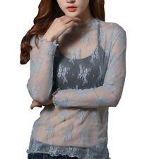 Ladies Mesh Lace Sheer See Through Blouse Top Long Sleeve Jumper Bottoming Shirt