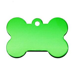 10 pcs Aluminum Metal Blank Pet ID Tag Bone Shaped Cat Dog Collar Charm 38x25mm