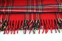 Vintage Faribo Red Plaid 100% Wool Blanket Throw Camp USA Lord & Taylor 54 x 50