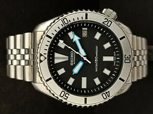 SEIKO DIVER 7002-700A BLACK FACE MODDED AUTOMATIC MENS WATCH 4D0378