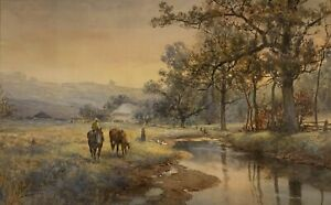 FRANK F. ENGLISH 19th-20th c. American Pennsylvania LANDSCAPE PAINTING w/ HORSES