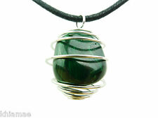 Malachite Silver Spiral Necklace black cord pendant gemstone crystal wicca pagan