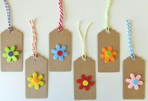 Gift Tags Pretty 3D Felt Flower Handmade Kraft Card Label 9x4cm Easter Gift Wrap