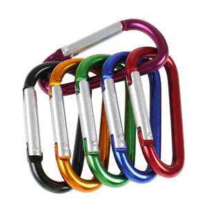 10 Pcs Black Aluminum Carabiner Spring Snap Clip Hooks Keychain Climbi HFV