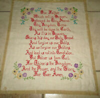 Vintage Lord's Prayer Needlepoint Sampler  Unframed