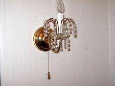 Wunderschöne Antik Messing-Bleikristall Sölken Leuchten Wandlampe  32 cm Hoch