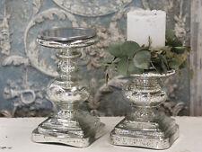 Chic Antique Kerzenleuchter Bauernsilber Glas Standleuchter shabby vintage Deko