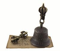 Campana Tibetano Dorje H18cm Ø 9.5cm Top Qualità Vajra Buddista Tibet 3330
