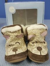 ROBEEZ Soft Leather Girls 3D Leapard Fur Crib Shoes Booties 0-6mos.