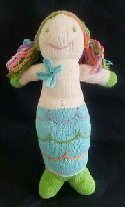 Blabla Mermaid Knit Plush Doll Rainbow Yarn Hair, Made in Peru