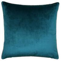 """2 X LUXURY LARGE SOFT VELVET TEAL BLUSH PINK PIPED CUSHION COVERS 22"""""""