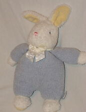 Carters Classics Plush White Bunny Rabbit Baby Rattle Blue Chenille Sleeper