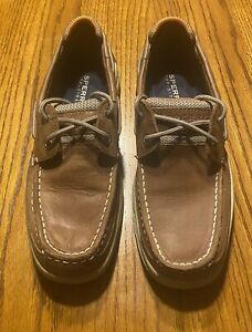 Sperry Top Sider Lanyard Boat Shoes 2 Eye Tan Leather Upper Men's Size 9M