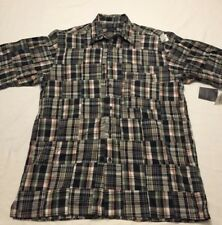 NWT IZOD Madras Medium M Button Front Plaid Quilt Square Patch Men's S/S Shirt