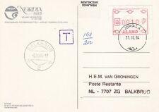 K 3950 Aland Jomala Oct 1984 underpaid Frama cover Netherlands, T mark, Balkbrug