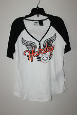 New Harley-Davidson Decorative Button Front women short sleeve t-shirt size 1W