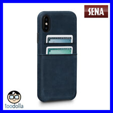 SENA Bence Snap-on genuine Leather Wallet case, card pockets for iPhone X, Blue