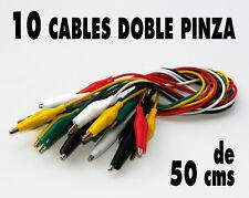 10 x Cable 50 cms doble pinza cocodrilo, 5 colores (2 de cada). Nuevos !!