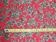Holly Fabric  Red Background 100% Cotton - Crafts Xmas Sewing - 1Metre