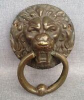 Antique french door knocker made of bronze lion head 19th century castle mansion