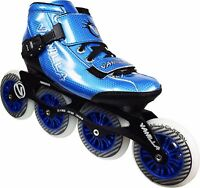 Blue VNLA Carbon Inline Speed Skates - 4 X 100mm Wheels Size 1-13