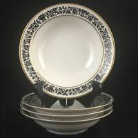 Set of 4 VTG Fruit Bowls Style House Avalon Fine China Black White Floral Japan