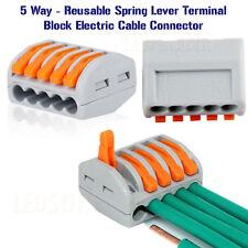 Connettori elettrici Wire/Cavi Blocco Terminale Morsetto Riutilizzabile 5Way 50 Pacco REGNO UNITO