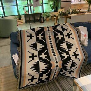 Bohemian Tribal Ethnic Geometric Aztec Navajo Blanket Throw Rugs Couch Sofa uk-